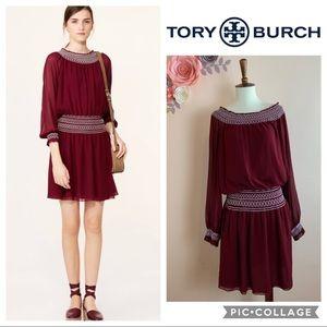 New! TORY BURCH Indie Off Shoulder Silk Dress